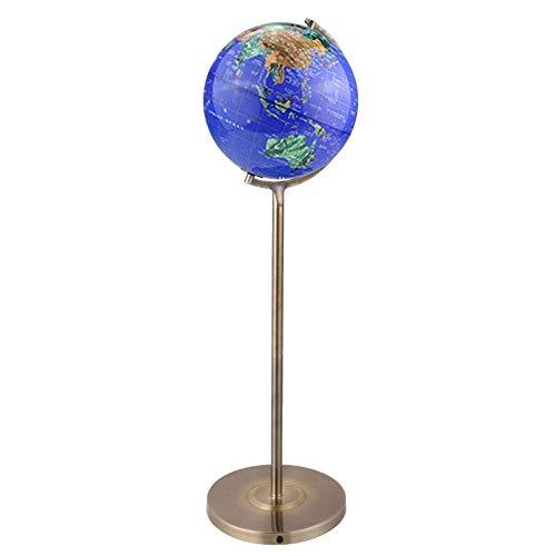 DIEFMJ Globo del Mundo Anillo de Acero Inoxidable Iluminado de pie 32 cm Lámpara de pie Globe Eth Globo con lámpara LED para decoración educativa geográfica del Mundo con Base de Metal