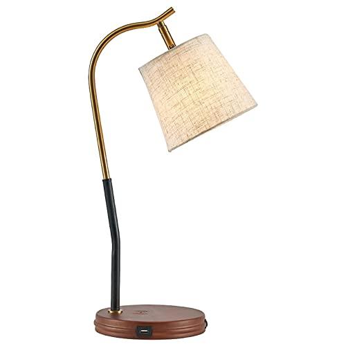 Lámpara de Mesita de Noche Escritorio curvo de tareas con USB Puertos de carga y lámpara de mesa de carga inalámbrica con tambor colgante y accesorio de luz de base de metal real Lámpara de Mesa
