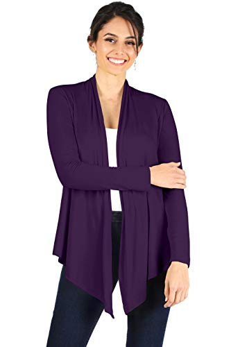 Open Front Cardigan Reg and Plus Size Lightweight Cardigans for Women Long Sleeves Ladies Summer Coverup Office Casual Formal (Size XXLarge, Plum)