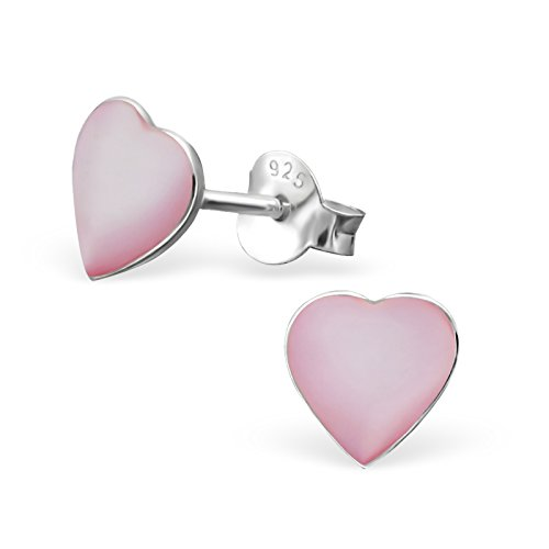 Laimons meisjes kinderen oorstekers oorbellen kindersieraden hart hart liefde plat roze wit van sterling zilver 925