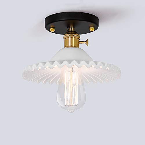 Plafonniers antiques en fer forgé, rétro simple LED en verre éclairage table à manger petits lustres plafonnier industriel allée bar balcon pendentif lumière (Design : A)