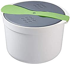 vesshiman Steamer Steam Soup Bowl Noodle Cooker Kitchen Cookware Suitable for Microwave Series with Rice Spoon (Green)