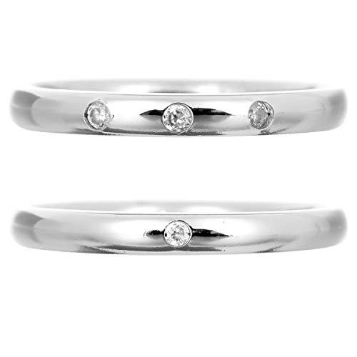 [ココカル]cococaru ペアリング 2本セット シルバー ダイヤモンド マリッジリング 結婚指輪 日本製(レディースサイズ6号 メンズサイズ7号)