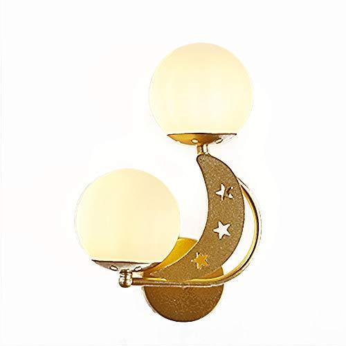 Nórdico Sencillez Moderno Interior Lámpara De Pared,Vidrio Bola Decorativa Creativo Apliques De Pared,Balcón Escalera Dormitorio Salón Pasillo-Oro a la izquierda 22 * 32cm