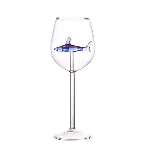 iSpchen Vasos de vino Shark de 300 ml para casa con tiburón en el interior de la botella de vino de cristal para fiesta de bar, Navidad, Halloween, regalo de celebración, color azul