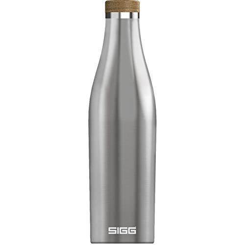 SIGG Meridian Brushed Gourde isotherme (0,5 L), gourde acier inoxydable étanche et sans substances nocives, bouteille d'eau pour boissons chaudes & froides