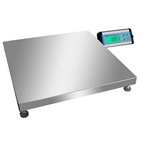 Balance au sol, plate-forme précise pour entrepot, pèse-colis, avec plateau inox de 500 x 500 mm et afficheur déporté - 150kg