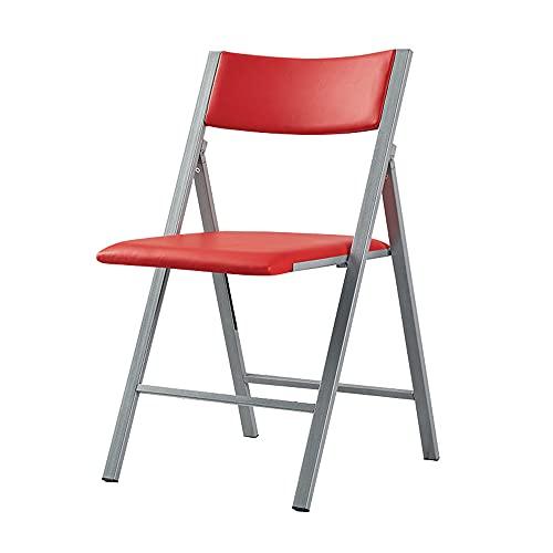 Folding Chairs Silla Plegable para el hogar Respaldo portátil Silla Plegable Simple Silla Suave de Metal Respaldo Silla Plegable Silla Plegable de Cuero