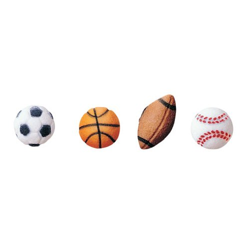 Oasis Supply Sugar Decorations, Sports Balls, 12 Count