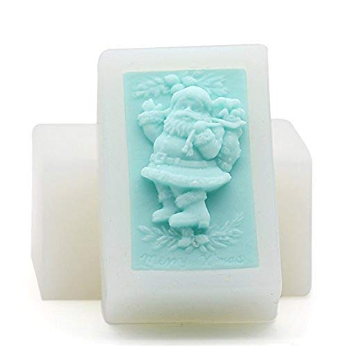 DIY Handmade Christmas Soap Molds,Santa Claus Shape Craft Art Silicone Soap Mold,Silicone Mold Santa Claus(2 Pack) (White)