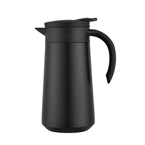 Edelstahl-Thermosflasche 800ml Isolierkanne Thermoskanne Quick Tip Verschluss 100% Dicht und kompakt 24 Stunden kalt und heiß Trinkflasche für Kaffee Tee Outdoor Reisen Sport - gefrostet Schwarz