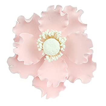 O Creme Gumpaste Anemone Flower Set of 3 Pastel Pink- Edible Flowers for Cake Decorating - Sugar Paste Flower Decorations for Cakes Cupcake Toppers - Birthday Party Wedding Valentines Day Shower