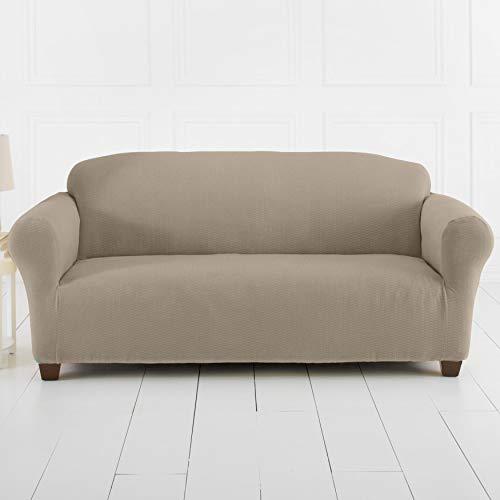 BrylaneHome Brighton Stretch Sofa Slipcover, Stone