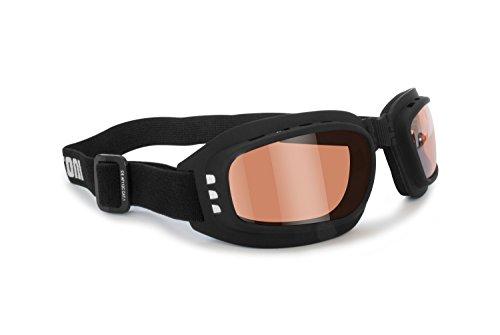 Bertoni Motorradbrille mit stoßfesten Gläsern, beschlagfrei, verstellbar, elastisch, AF112 (schwarz, Gummi, orange)