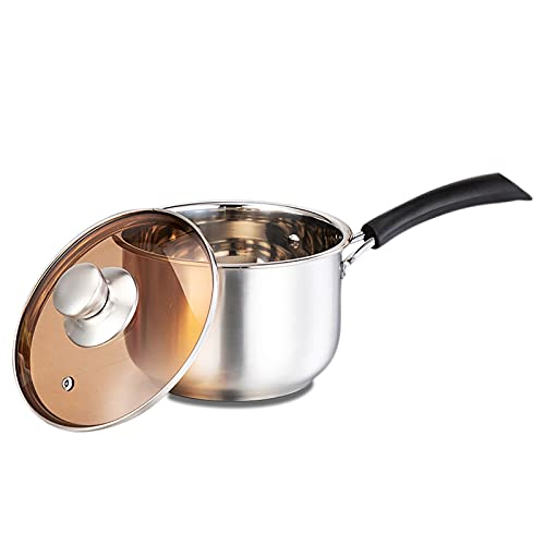 MANO 2 Quart Saucepan Stainless Steel With Lid Milk Heating Pan With Heatproof Handle for Home Kitchen Restaurant Cooking Non Toxic And Dishwasher Safe