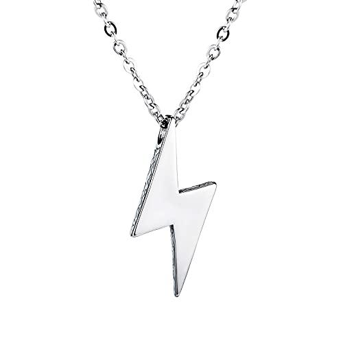 YNING Acero de Titanio para Hombre/Collar de Relámpago/Joyería de Personalidad Salvaje Retro de la Calle/Longitud de Cadena Ajustable