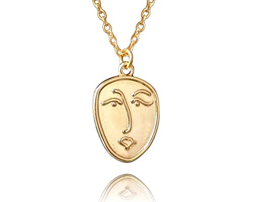 Handmade Abstract Face Gold Plated Chain Necklace for Women, Minimalist Designer by 'Valeno Jewelry'