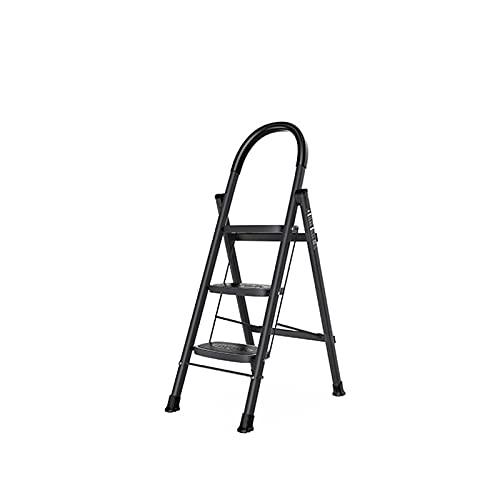 Escalera Plegable Compacta, Escalera De 3 Pasos Taburete De 4 Pasos Escalera Antideslizante con Pasamanos, para Decoración De Interiores, Cambie Las Cortinas Doblez(Size:117CM,Color:Negro)