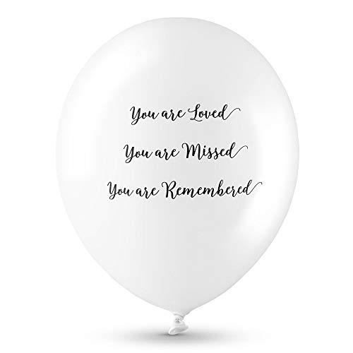 ANGEL & DOVE Trauerballons 'You Are Loved, Missed, Remembered' - Hochwertig Beerdigung Erinnerung Beileids, Biologisch Abbaubar, Latex, Weiß, 25 Stück