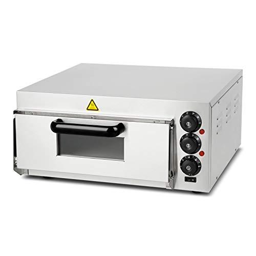 vertes Profi Pizzaofen Steinbackofen für Pizza, Brot und Backwaren (2000 Watt, Temperatur regelbar bis 350°C, Ober- und Unterhitze regelbar, Timer Funktion, Edelstahl)