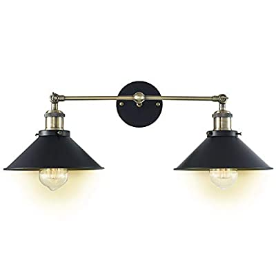 Deep Dream 2 Light Wall Sconces Fixture, Industrial Metal Black Vintage Wall Lamp Shade (Without Bulbs)