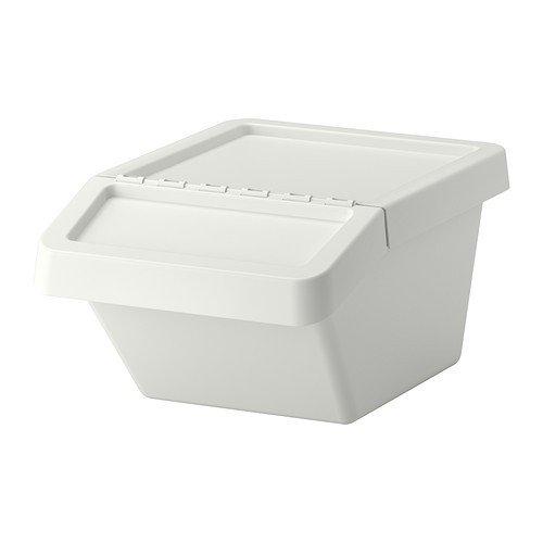 IKEA SORTERA Abfalleimer mit Deckel in weiß; (37l)