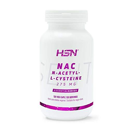 NAC de HSN   275 mg, N-Acetil-L-Cisteína   Aumenta los Niveles de Glutatión, Alto Poder Antioxidante, Aumenta tus Defensas   Vegano, Sin Lactosa, Sin Gluten, 120 Cápsulas Vegetales