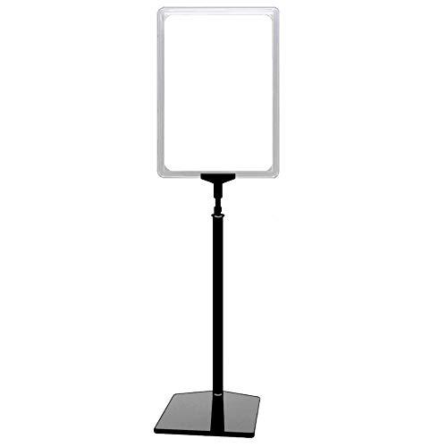 4 Plakatständer DIN A4 Rahmen transparent, Ständer Kunststoff schwarz, Teleskopständer mit Fuß eckig, Kundenstopper höhenverstellbar bis 68 cm, Aufsteller