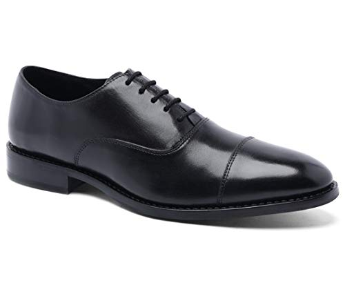 Anthony Veer Mens Clinton Cap-Toe Oxford Leather Shoe in Goodyear Welted Construction (8 D, Black)