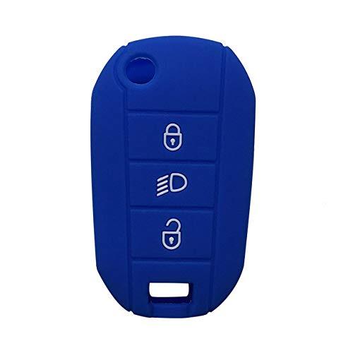 Autosleutelbehuizing Voor Citroen, 3-Knops Siliconen Autosleutelhouder, Antikras Autosleutelhoes, Autosleutel Shell-Beschermer Compatibel Voor Citroen C4 Cactus C5 X7 Peugeot Expert, Blauw