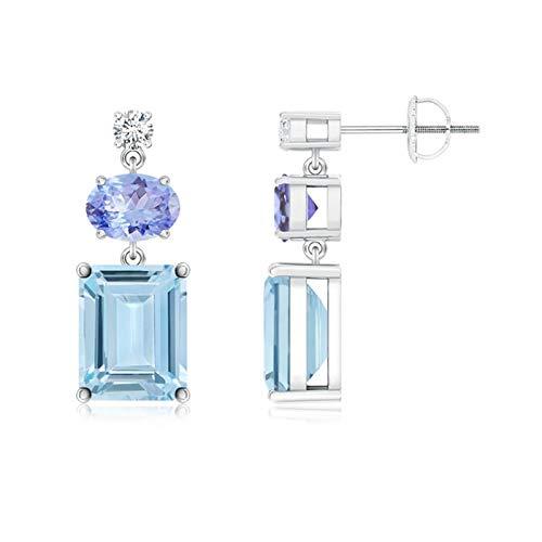 Diamond, tanzanita y aguamarina pendientes colgantes