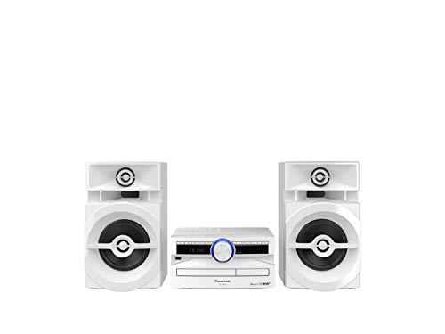 Panasonic SC-UX102E-W Sistema Stereo Mini, 300 W, Speaker a 2 Vie, Woofer da 13 cm, Ideale per Feste, Lettore CD, CD-R R W, Riproduzione Wireless Bluetooth, USB, DAB DAB+, Suoni Potenti, Bianco