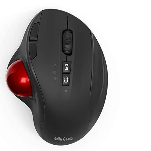 Jelly Comb Trackball Maus Bluetooth, 2,4G Kabellose Maus Ergonomisch & Dual Bluetooth-Maus, 8 Tasten und 3 DPI, Wiederaufladbare Funkmaus für Computer, Laptop, Tablet(Schwarz/Weinrot)