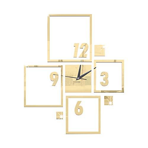 TFOOD Muursticker, gouden moderne grote wandklok, 3D-spiegel, afneembare sticker, geschikt voor slaapkamer, woonkamer, kinderkamer, doe-het-zelf huishoudtextiel