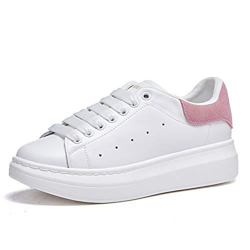 Damen Sneakers, Modisch, Leder, Plattform, Sneakers, Schnürschuhe, Pink - Rosa - Größe: 37 EU