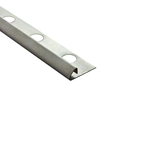 Viertelkreis Edelstahlschiene Fliesenprofil Fliesenschiene Edelstahl V2A L250cm 8mm gebürstet