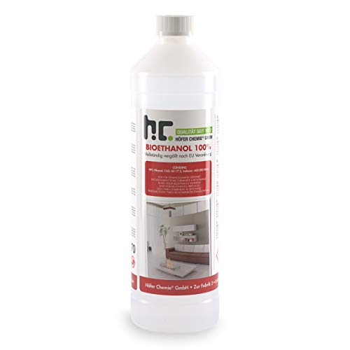 Höfer Chemie 1 L Bioethanol 99,9% Premium für Ethanol Kamin, Ethanol Feuerstelle, Ethanol Tischfeuer und Bioethanol Kamin