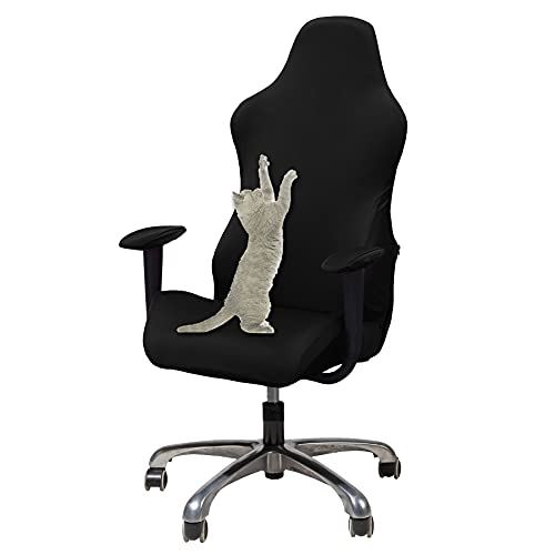 WOMACO Gaming Chair Slipcover Stretch Seat Chair Cover for Leather Computer Reclining Racing Ruffled Gamer Chair Protector (Black, One-Size)