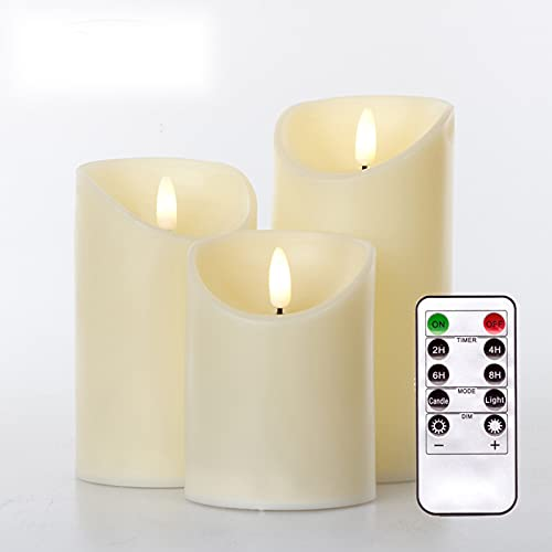 Simulation Candle 3 pcs/Set Remote Control LED flameless Candle Battery Lifelike 3D Dynamic Flame Candle Light Tea Light Home Decoration (White)