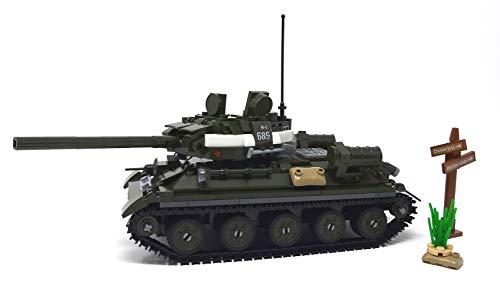 Modbrix Tanque soviético T-34 con 3 minifiguras de soldados, 687 bloques de construcción
