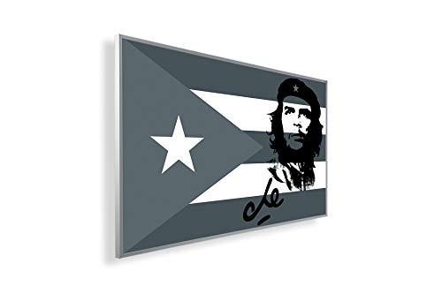 Könighaus Fern Infrarotheizung – Bildheizung in HD mit TÜV/GS - 200+ Bilder - Mit Thermostat - 7 Tages-Programm - 450 Watt -146. Che Guevara mit Cuba Flagge Black Edition_WR