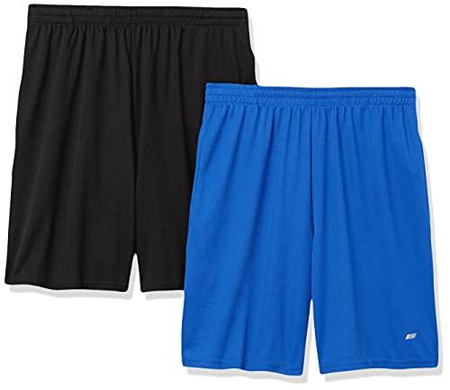 Amazon Essentials Men's 2-Pack Loose-Fit Performance Shorts, Black/Royal Blue, Large