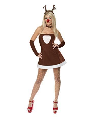Smiffy's - Costume da Renna Sexy, incl. Vestito, Guanti, Naso e Collana, Donna, Taglia: M, Colore: Marrone