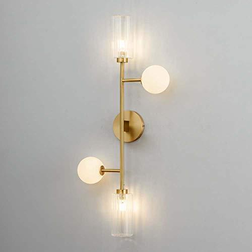 Raxinbang Lampada Da Parete In Rame Nordico Moderno Soggiorno Semplice Vetro Creativo Stile Europeo Camera Da Letto Comodino Luce Di Lusso 4 Teste 120 * 800 * 350mm luci da parete