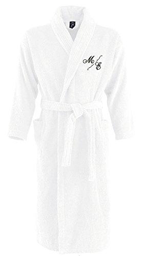 Bademantel aus 100% Baumwolle • Zwei aufgesetzte Seitentaschen • Passender Gürtel (Mona L/XL Weiss)