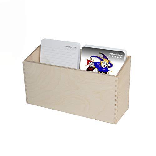 Rogge´s RelaxGrill Holz-Karteikasten für CookPins Essensplaner, mit 50 Rezept- und 5 Jokerkarten zum selbst beschriften, Speiseplan, Menütafel, Kochkarten, Kochbuch, Rezepttafel, Kochtafel, Essenplan
