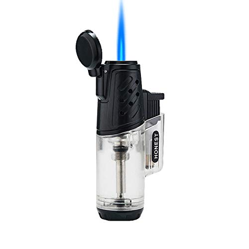 Navpeak Jet Cigar Lighter Windproof Turbo Strong Flame Gas Butane Refillable Torch Lighter with Butane Window Gadgets for Men (Butane not Included) (Clear)