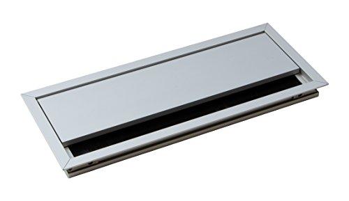 Gedotec Kabeldurchführung silber Schreibtisch ECO eckig mit Bürstendichtung | Kabeldurchlass Aluminium silber eloxiert | Kabeldose 100 x 240 mm zum Eindrücken | 1 Stück - Tisch-Kabelausgang Alu