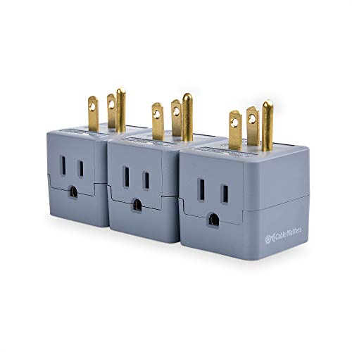 Cable Matters 3-Pack Grounded Power Cube 3 Outlet Adapter in Gray