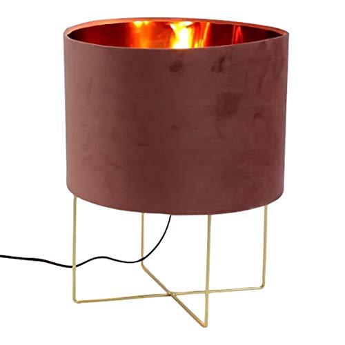 LS-Design Tischlampe Paris Samt Pink Rosa Gold 33cm Tischleuchte Nachttisch-Lampe